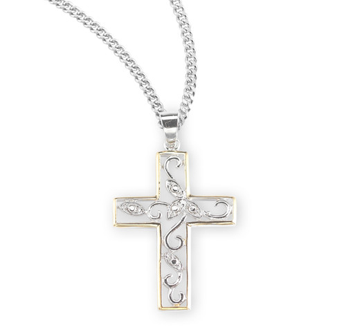 "Crystal Cubic Zirconia's ""CZ's"" Sterling Silver Two Tone Vine Cross"