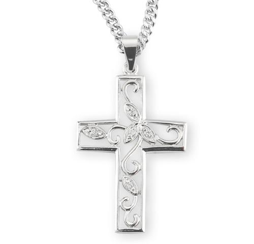 "Crystal Cubic Zirconia's ""CZ's"" Sterling Silver Vine Cross"