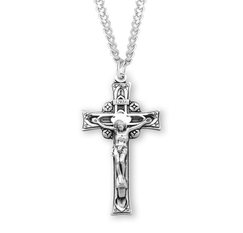 "Deep Relief Sterling Silver Crucifix | 24"" Endless Curb Chain"