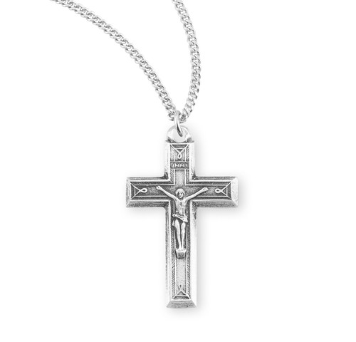"Engraved Sterling Silver Crucifix | 24"" Endless Curb Chain"