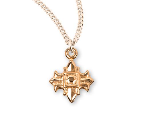 Gold Over Sterling Silver Fleur De Lis Cross