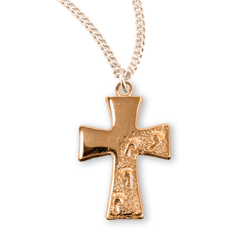Gold Over Sterling Silver Footprints in the Sand Cross