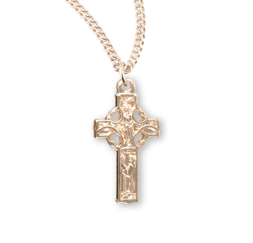 "Gold Over Sterling Silver Small Irish Celtic Cross | 18"" Gold-Plated Chain"