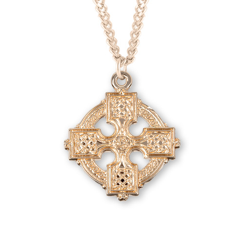 """Gold Over Sterling Silver Medium Irish Celtic Cross 