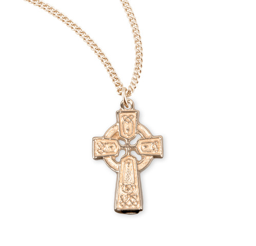 "Gold Over Sterling Silver Irish Celtic cross Pendant | 13"" Gold Plated Chain"