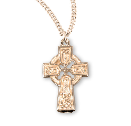 "Gold Over Sterling Silver Mini Irish Celtic Cross Pendant | 18"" Gold-Plated Chain"
