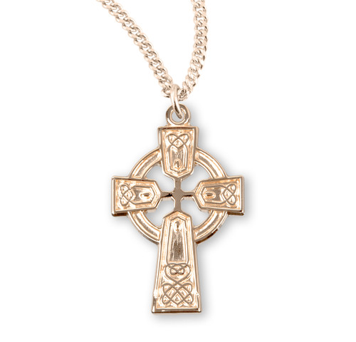 "Gold Over Sterling Silver Small Irish Celtic Cross Pendant | 18"" Gold-Plated Chain"
