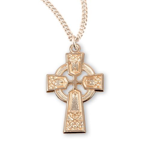 "Gold Over Sterling Silver Medium Irish Celtic Cross Pendant | 18"" Gold-Plated Chain"