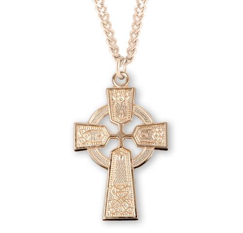 "Gold Over Sterling Silver Medium Irish Celtic Cross Pendant | 24"" Gold-Plated Chain"