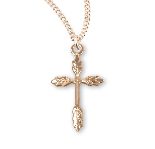 "16kt Gold Over Sterling Silver Wheat Cross | 18"" Gold Plated Chain"