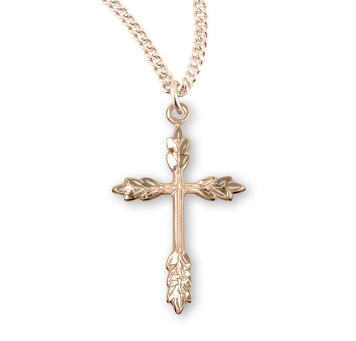 "16kt Gold Over Solid Sterling Silver Wheat Cross | 18"" Curb Chain"