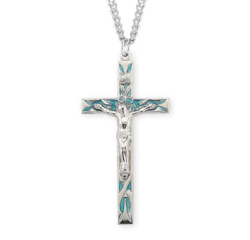 """High Polished Blue Enameled Sterling Silver Crucifix 