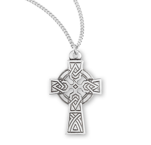 "Irish Celtic Cross Sterling Silver Pendant | 18"" Chain"