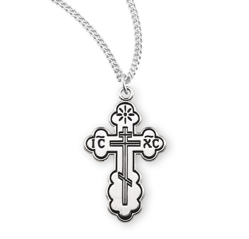 "Black Enameled Sterling Silver Byzantine Cross | 18"" Curb Chain"