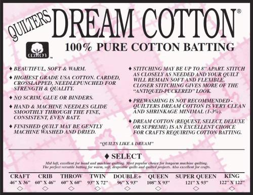 Quilters Dream Natural Cotton Quilt Batting Select Midloft