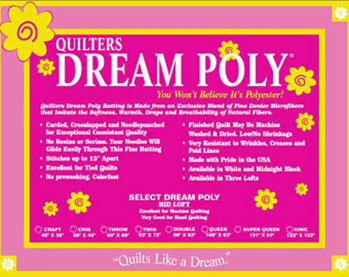 """Dream Poly fibers are; blended, carded, cross lapped and needle punched with unique processing that eliminates the need for resins, glue or scrims stabilizers 60"""" Roll is not folded"""