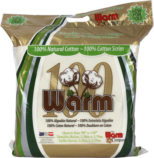 The Warm Company Warm 100 Natural Cotton Quilt Batting with a Cotton Scrim