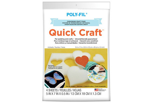Quick Craft Foam – 5″ x 7″ x 1/2″ Package of 4 sheets
