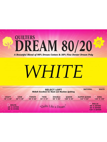Quilters Dream White or Bleached Cotton Polyester Quilt Batting By The Roll