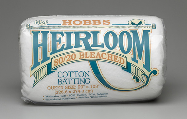 Hobbs Heirloom Bleached  80/20 Bleached or White 80 20 Cotton Polyester Quilt Batting