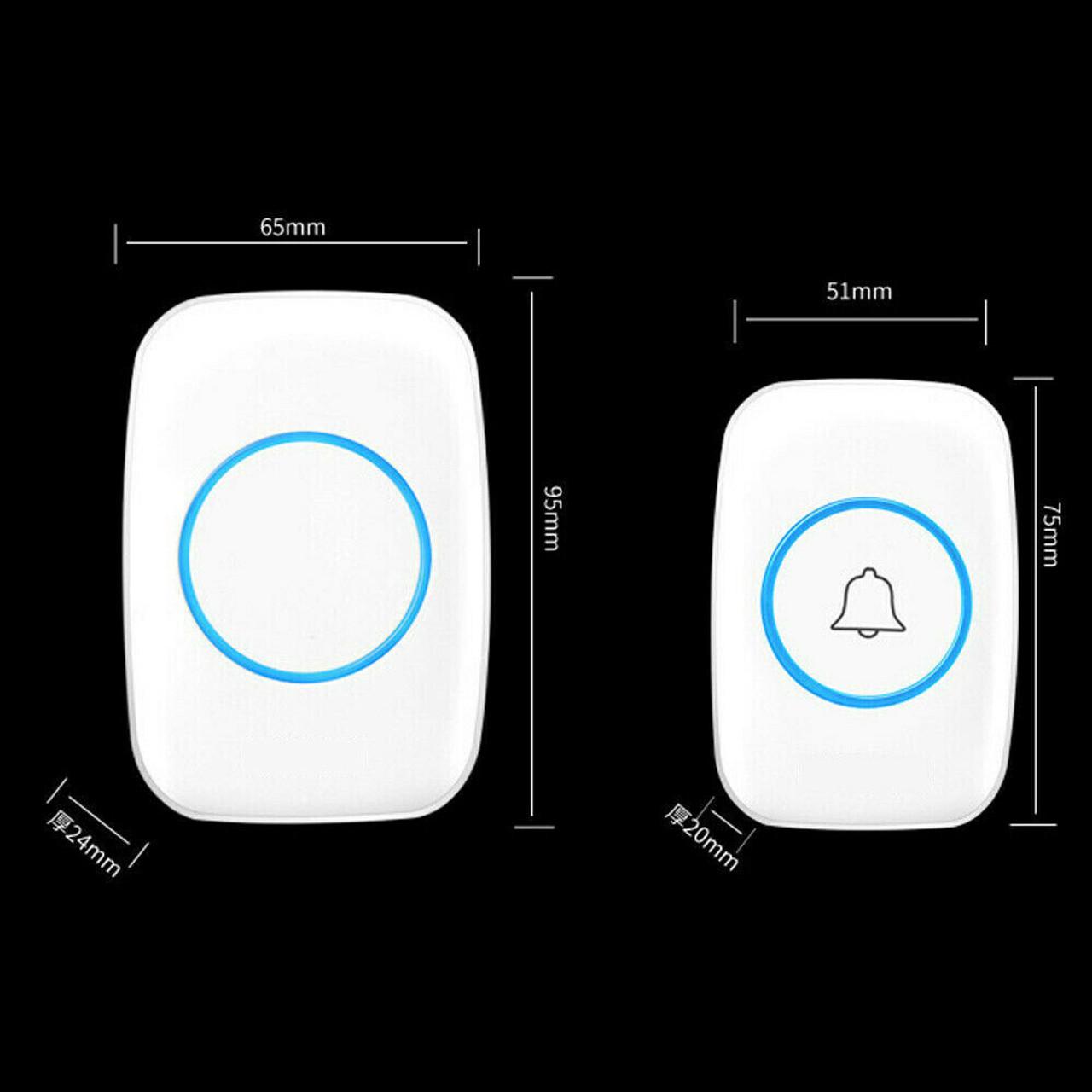 Wireless Doorbell Chime Waterproof Plugin Receiver Adjustable Volume 1000FT Kit