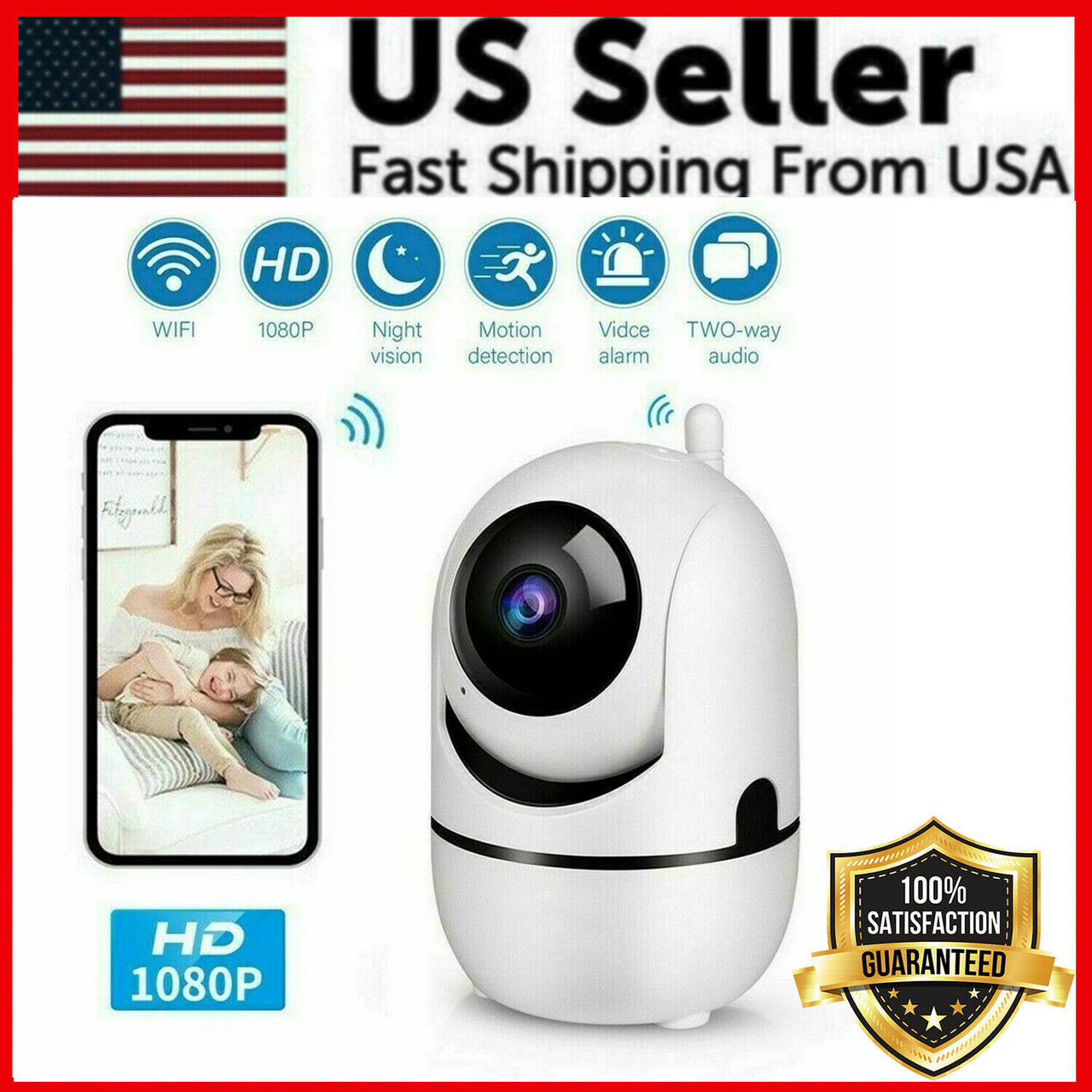 1080p WiFi Wireless Indoor Home Security Camera Night Vision Baby Pet Monitor