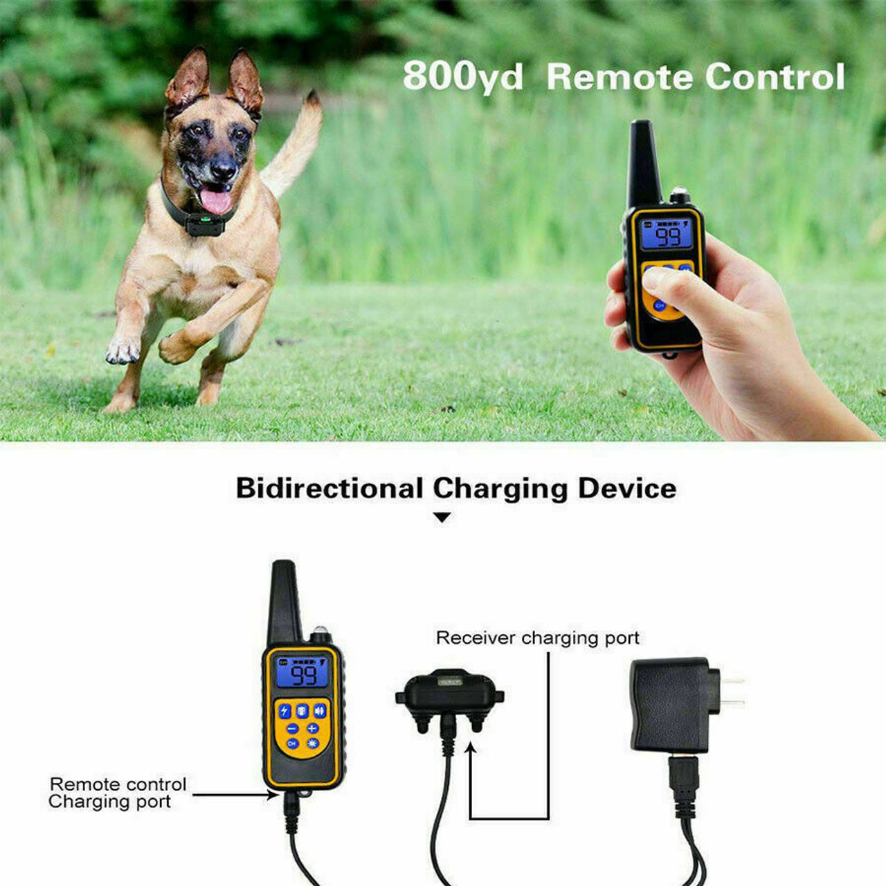 2600 FT Remote Dog Shock Training Collar Rechargeable Waterproof LCD Pet Trainer