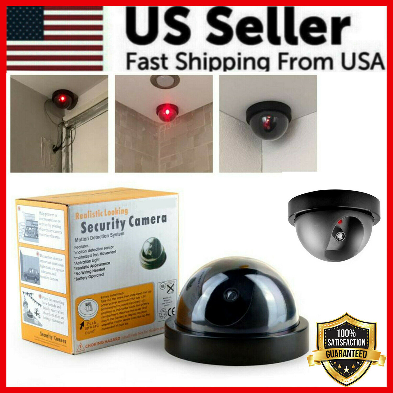 1-10PCS Dummy Camera Fake Security CCTV Dome Camera with Flashing Red LED Light