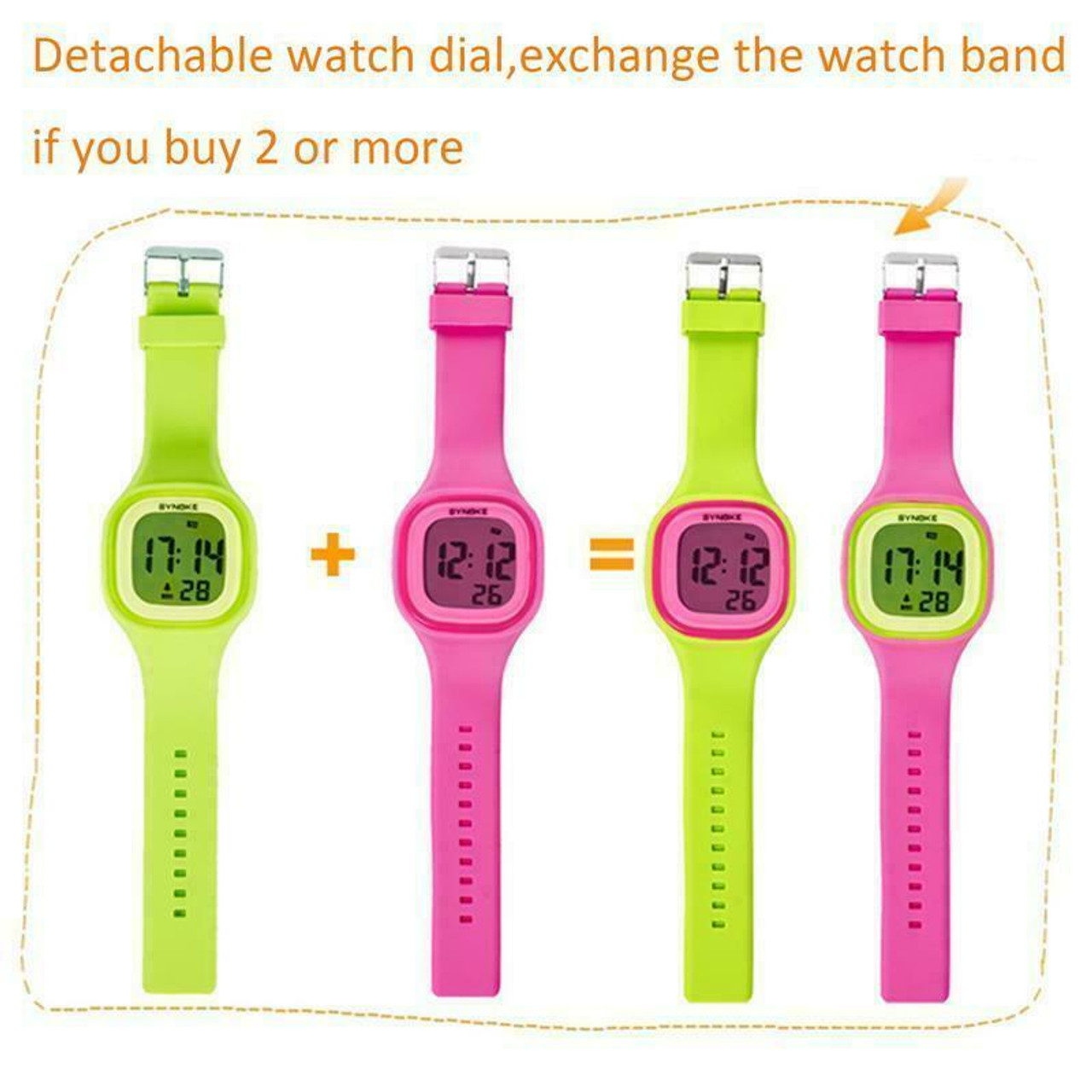 Kids Boys Girls Gift LED Sports Digital Electronic Wrist Watch Waterproof Child