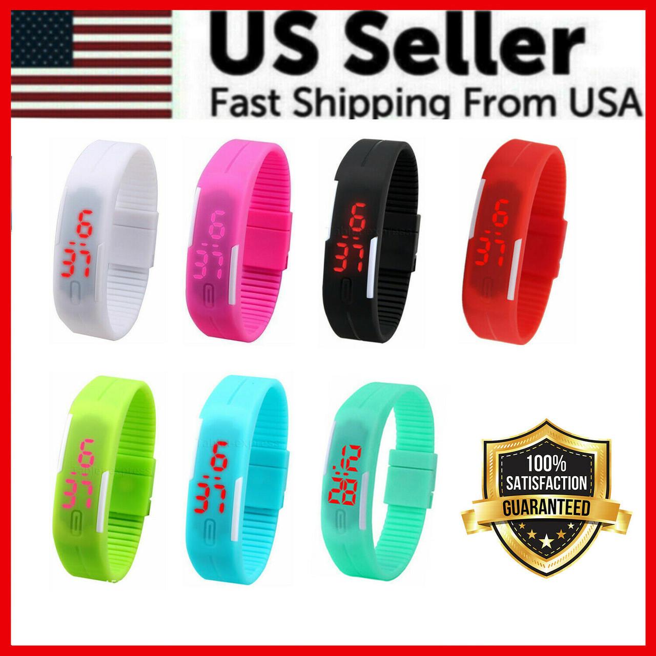 Mens Womens Sports Digital Silicone Rubber LED Waterproof Bracelet Wrist Watch