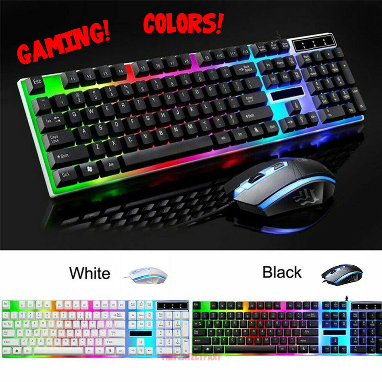 Rainbow Gaming Keyboard And Mouse Set Multi-Color Changing Backlight Mouse Mice
