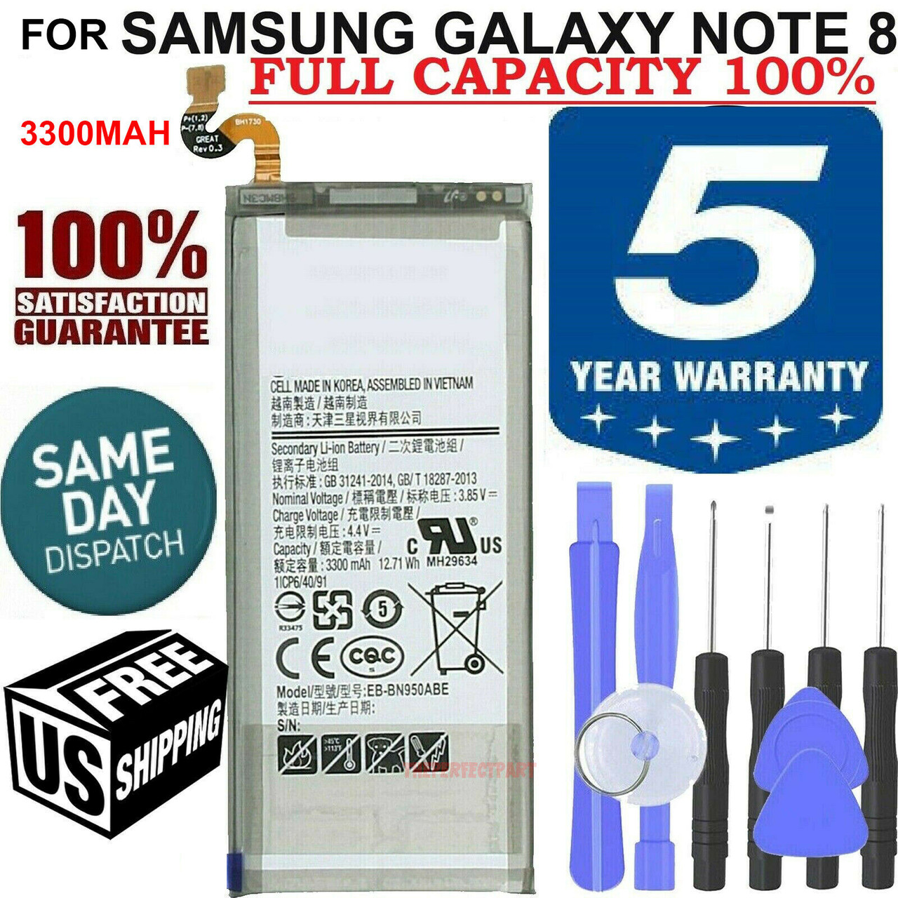 NEW OEM SPEC For Samsung Galaxy Note 8 Battery EB-BN950ABA 3300mAh Replacement