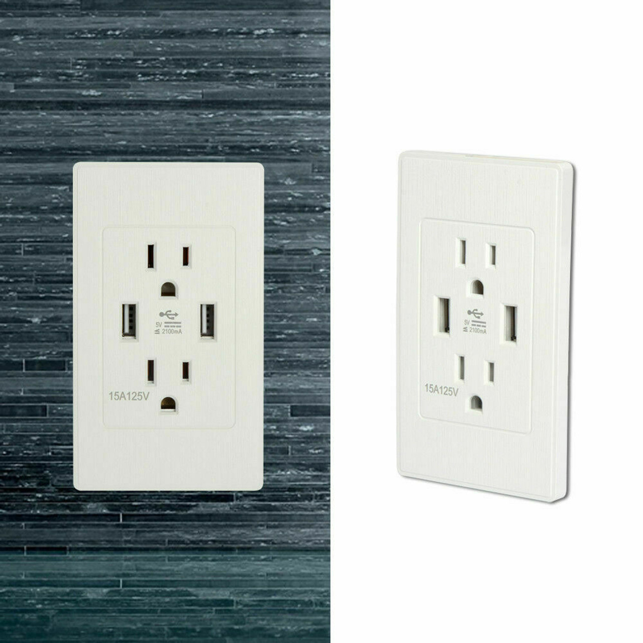 Dual USB Port Wall Socket Charger AC Power Receptacle Outlet Plate Panel 15A 110