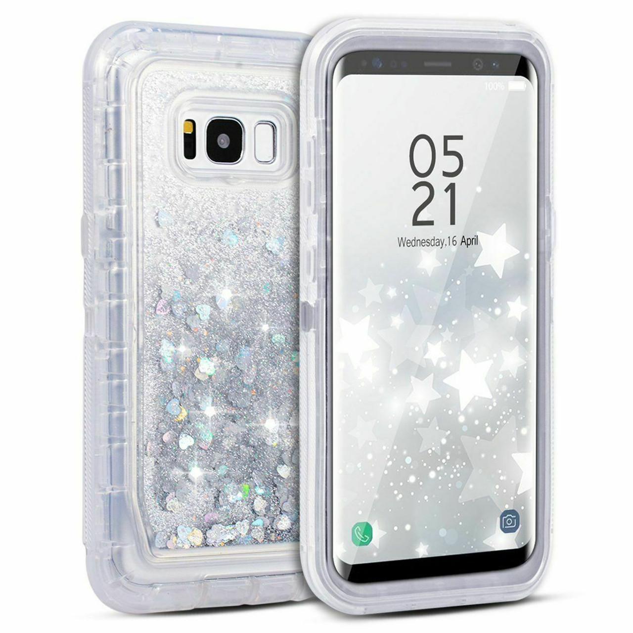 For Samsung Galaxy S8 S9 Note Liquid Glitter Case (Clip Fits Otterbox Defender)