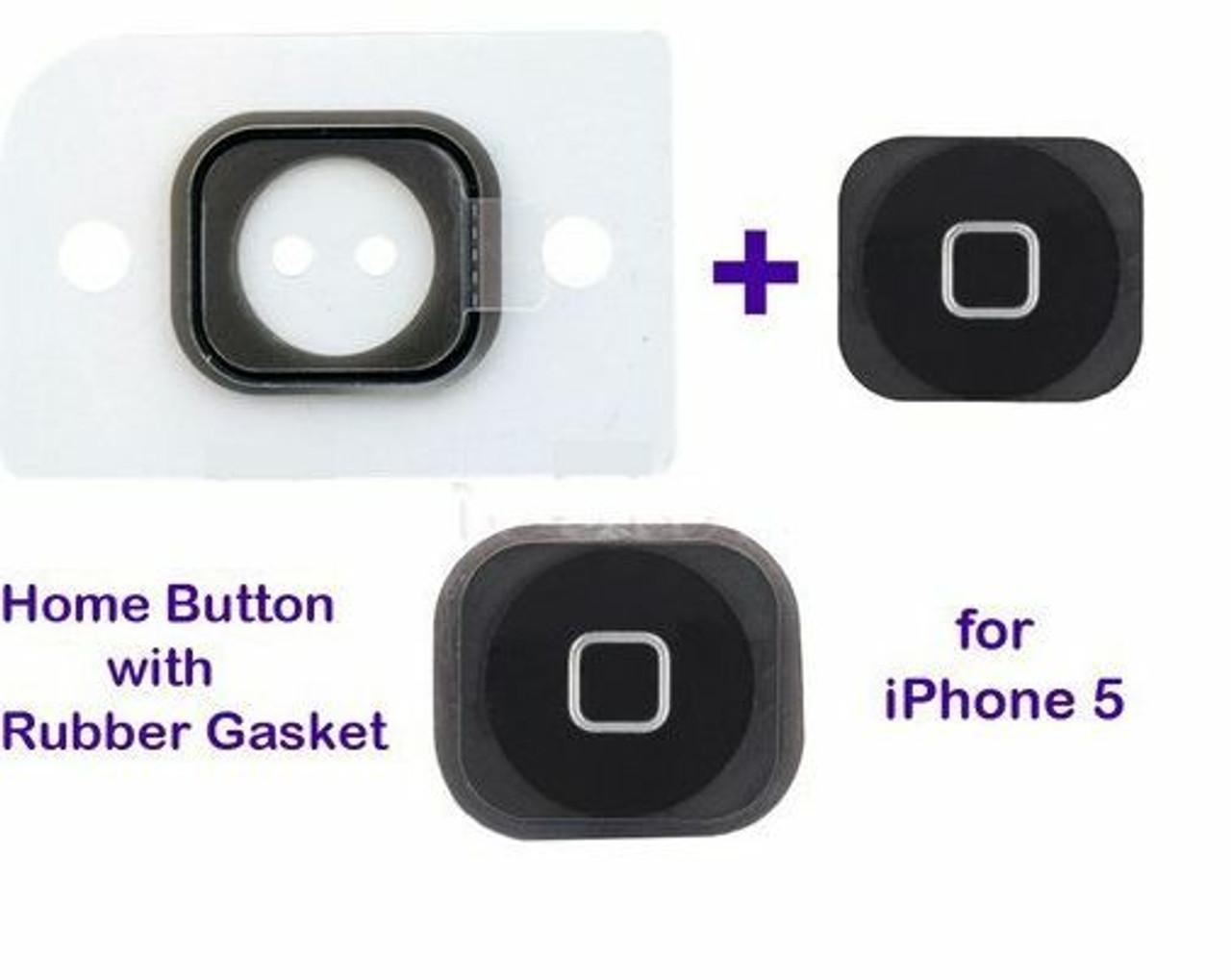 Home Menu Button Key Cap + Flex Cable + Bracket Holder for Apple iPhone 5 -BLACK