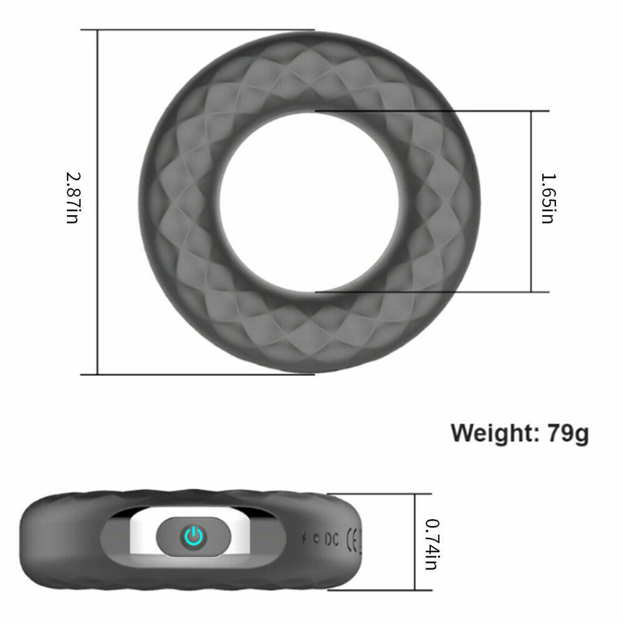 Vibrating Penis Cock Ring Clit Stimulator Couple Sex Toys For Men Rechargeable