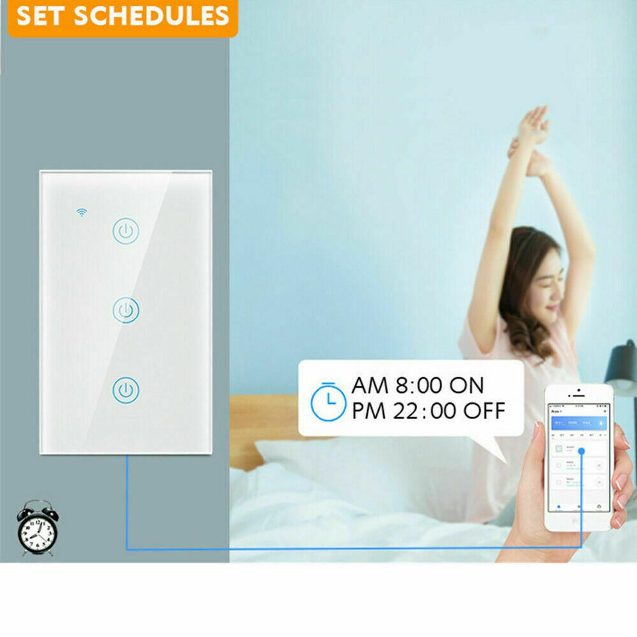 1/2/3/4 Gang WiFi Smart Wall Touch Light Switch Glass Panel For Alexa/Google APP