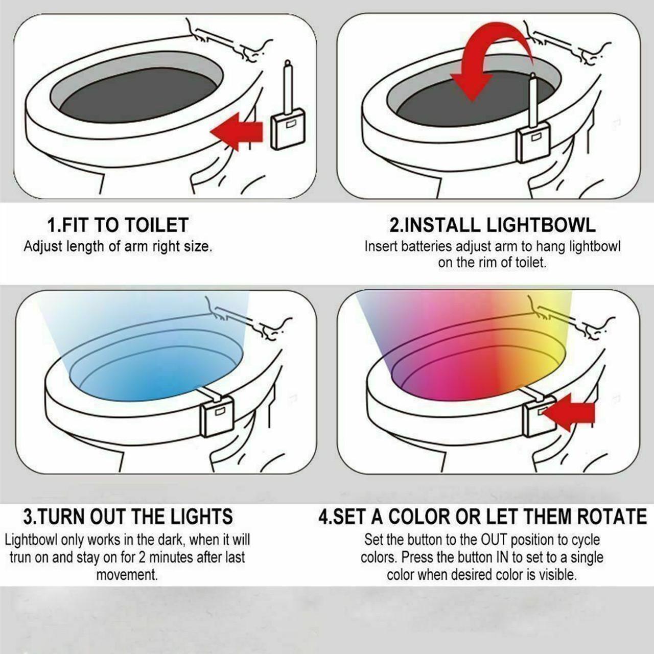 3 PCS Toilet Night Light LED Motion Activated Sensor Bathroom Bowl Lamp 8 Color