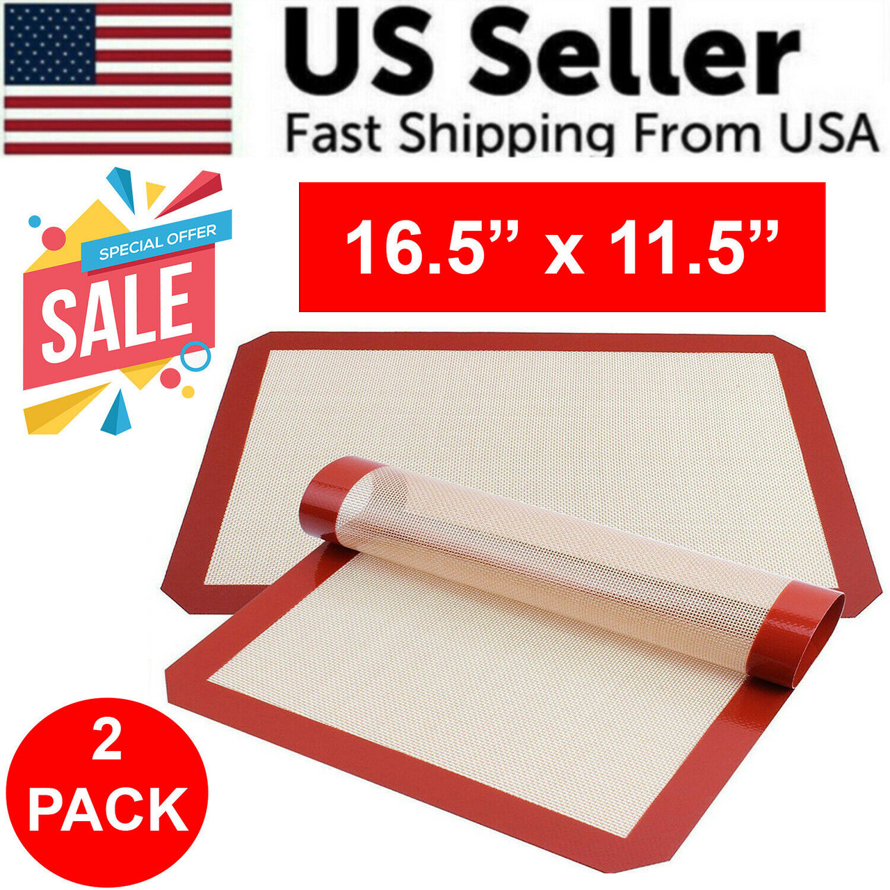 2 Pack Silicone Baking Mat Bakeware Oven Non Stick Cookie Tray Heat Resistant