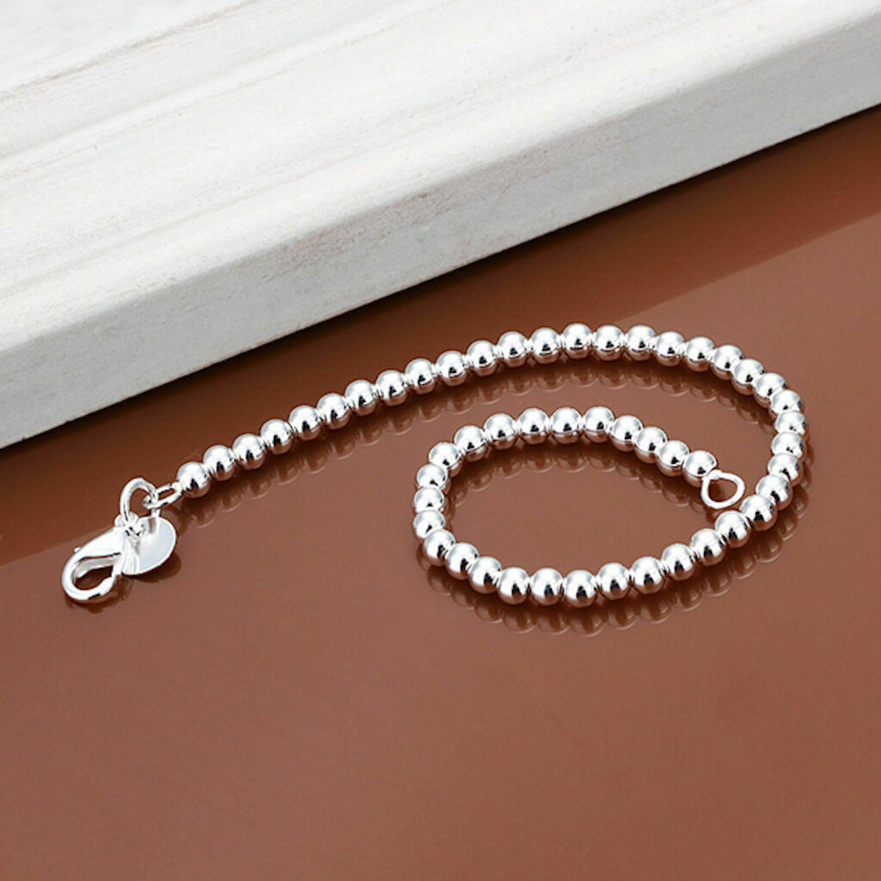 Women 925 Sterling Silver Bracelet Hollow Beads Balls 8 Inches 6MM Lobster L49