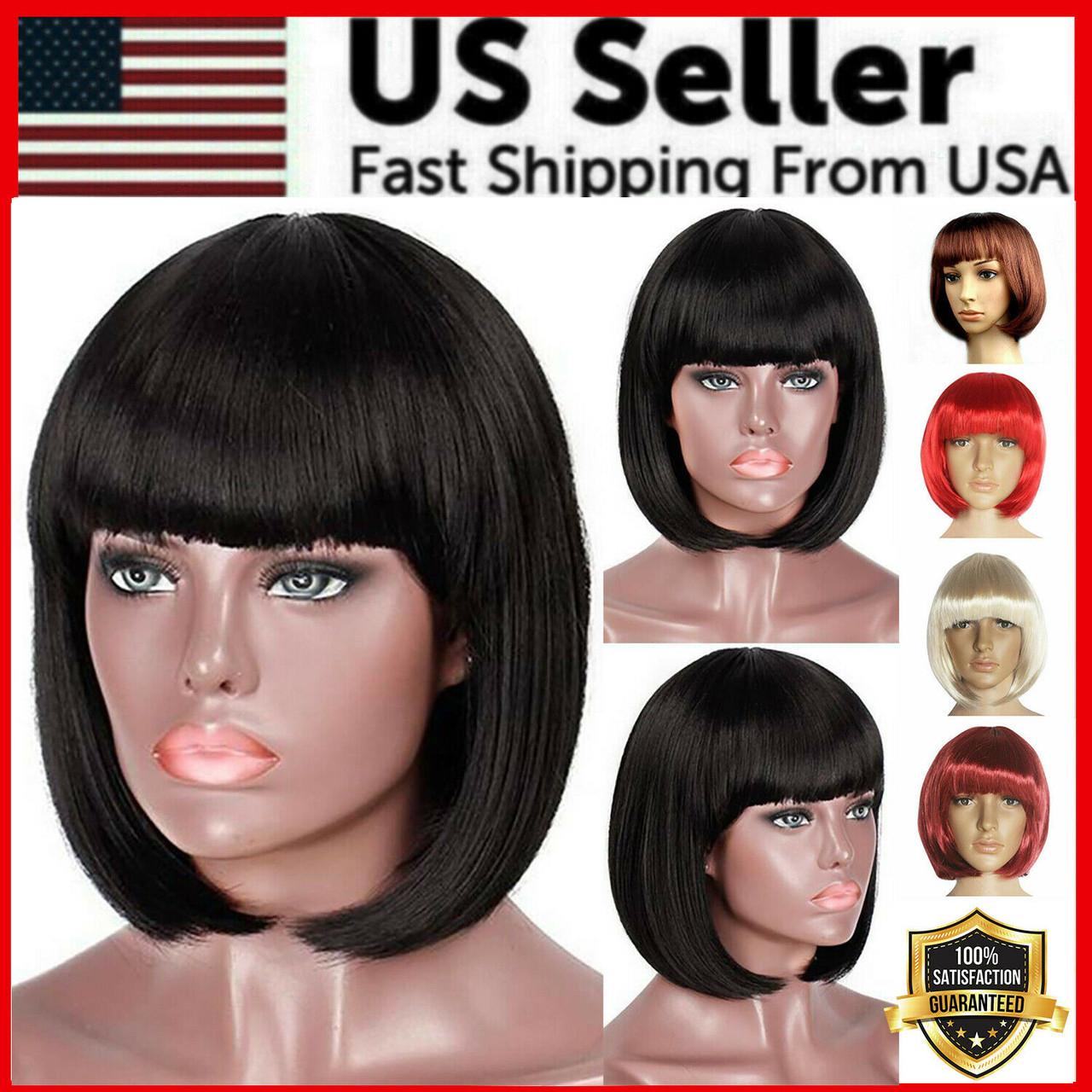 Lady Girl Bob Wig Women's Short Straight Bangs Full Hair Wigs Cosplay Party New
