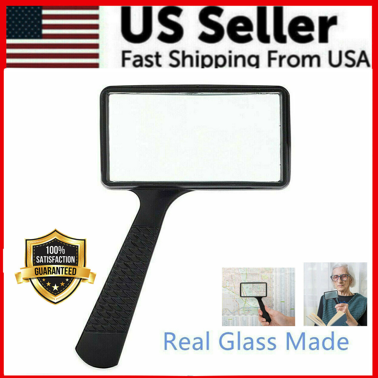 Handheld Rectangular 3X Magnifier Magnifying Glass Loupe For Reading Jewelry US