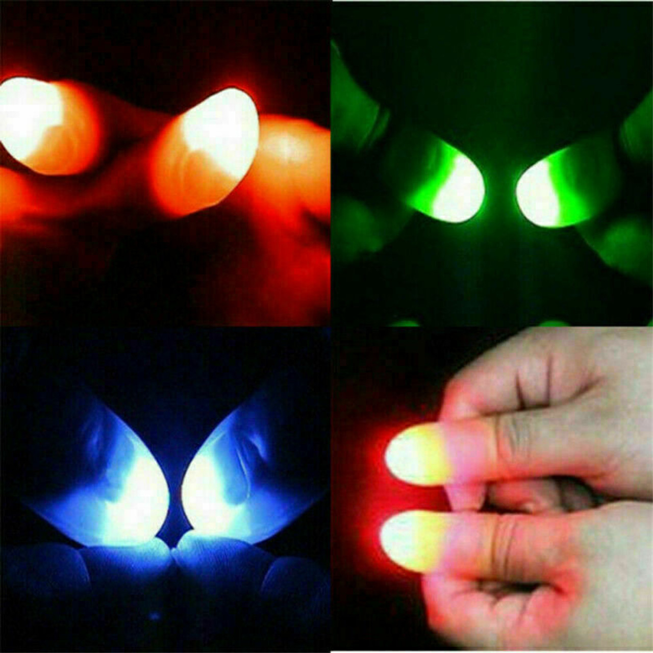 2x LED Finger Thumbs Light Multi Color Magic Prop Party Bar Show Lamp Trick New