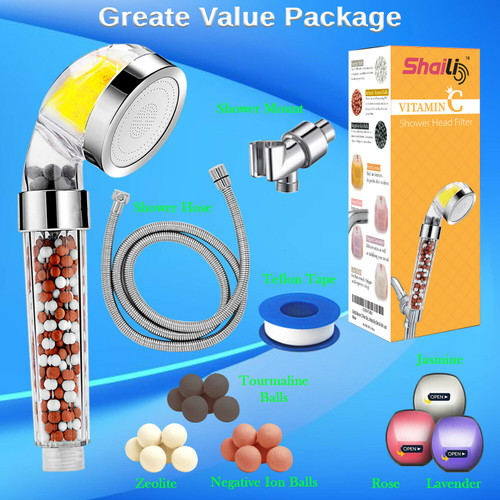 High Pressure Shower Head Ionic Filtered Stone Stream Water Vitamin C 4 Filter
