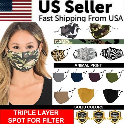 Face Mask Triple Layer Reusable Washable Cover Camo Cloth Zebra Snake Cheetah