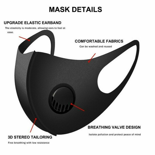 Face Mask Reusable Washable Cover Camo Adult Cloth Breathable & Breathing Valve