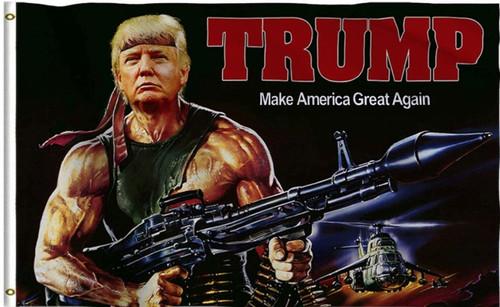 Trump 2020 Flag 3x5 Feet Keep America Great MAGA KAG Banner Tank Rambo Bazooka
