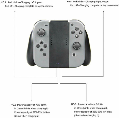 Joy-Con Charging Comfort Grip For Nintendo Switch 1000mAh Rechargeable Battery