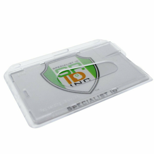 ID Badge Holder Hard Plastic Card Holders Vertical Clear Protect Rigid Case Slim