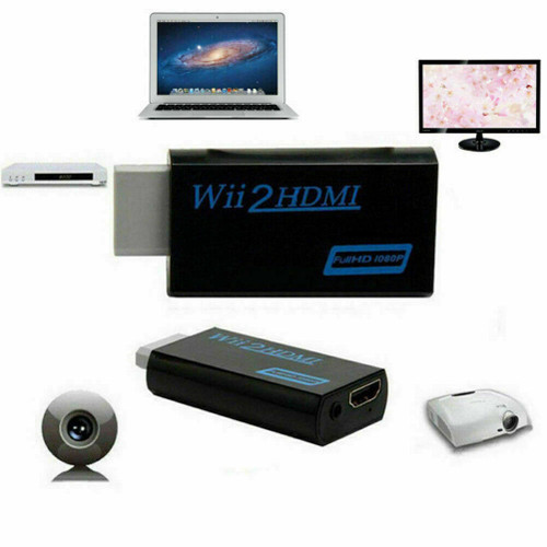 Portable Wii to HDMI Wii2HDMI Full HD Converter Audio Output Adapter TV Black
